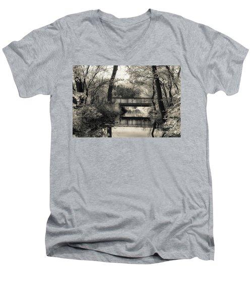 Fall In Black And White Men's V-Neck T-Shirt