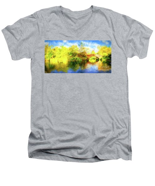 Men's V-Neck T-Shirt featuring the photograph Fall In Central Park by Jim  Hatch