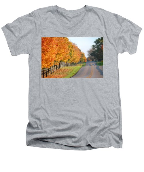 Men's V-Neck T-Shirt featuring the photograph Fall In Horse Farm Country by Sumoflam Photography