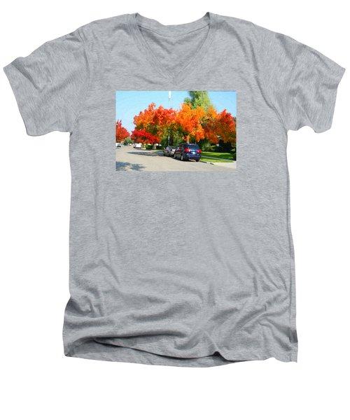 Fall In The City Men's V-Neck T-Shirt