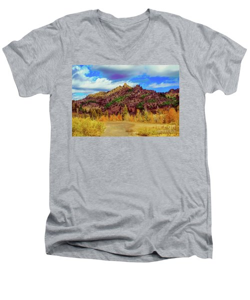 Fall In The Oregon Owyhee Canyonlands  Men's V-Neck T-Shirt by Robert Bales