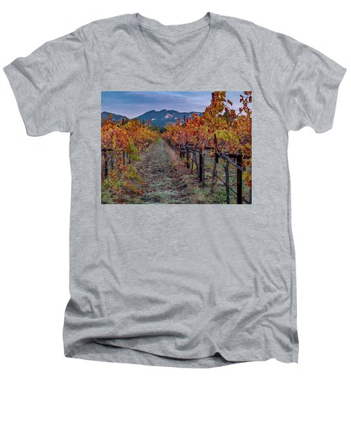 Men's V-Neck T-Shirt featuring the pastel Fall In Wine Country by Bill Gallagher