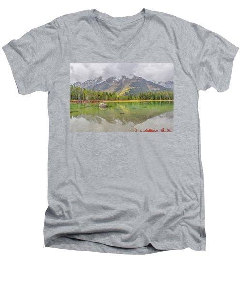 Fall Morning Along String Lake Men's V-Neck T-Shirt