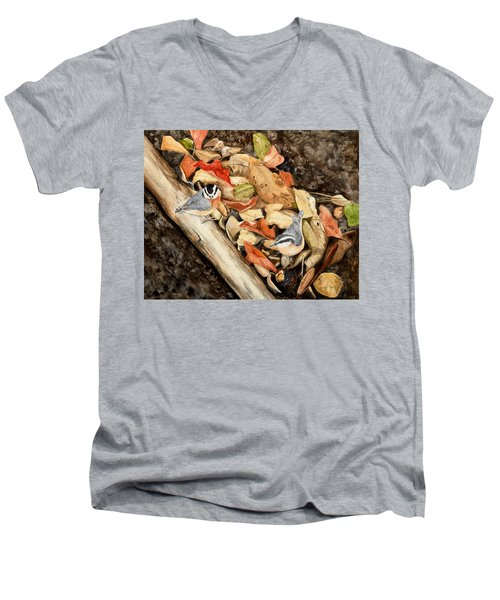 Fall Nuthatch Pair Men's V-Neck T-Shirt