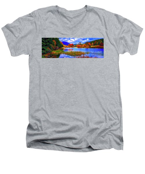 Men's V-Neck T-Shirt featuring the photograph Fall On Long Pond Acadia National Park Maine  by Tom Jelen