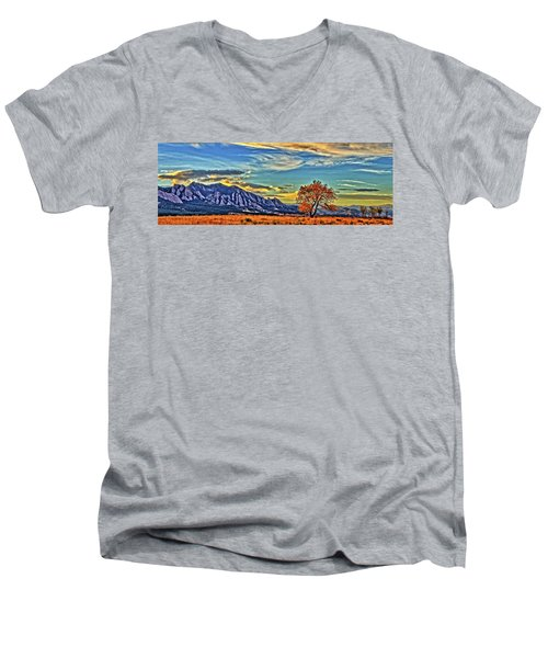 Men's V-Neck T-Shirt featuring the photograph Fall Over The Flatirons by Scott Mahon