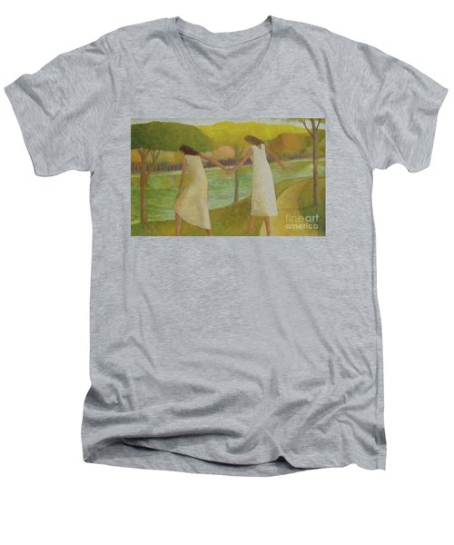 Fall River Men's V-Neck T-Shirt by Glenn Quist