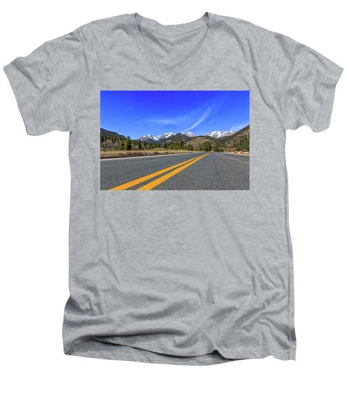 Men's V-Neck T-Shirt featuring the photograph Fall River Road With Mountain Background by Peter Ciro