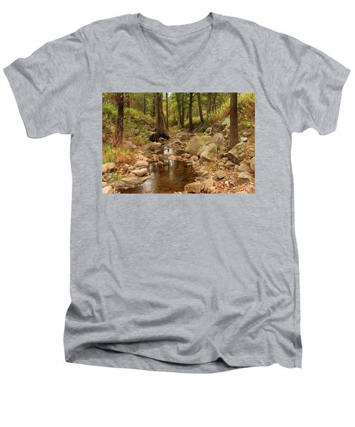 Men's V-Neck T-Shirt featuring the photograph Fall Stream And Rocks by Roena King