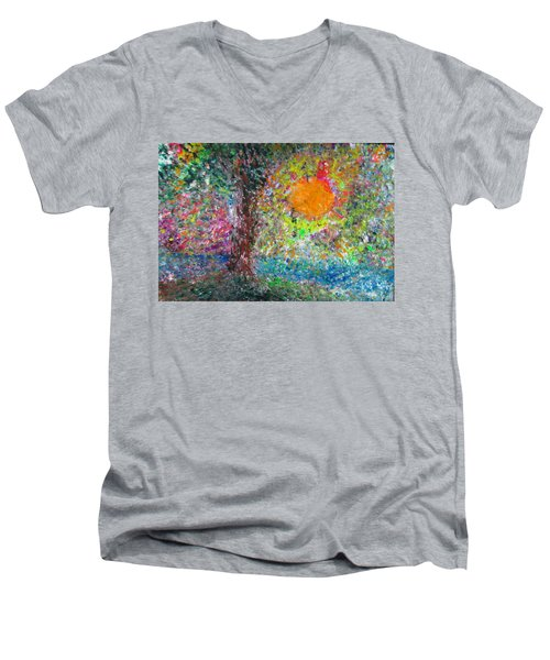 Fall Sun Men's V-Neck T-Shirt by Jacqueline Athmann