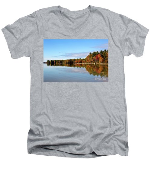 Fall Tree Reflections Lake Sabago Maine Men's V-Neck T-Shirt
