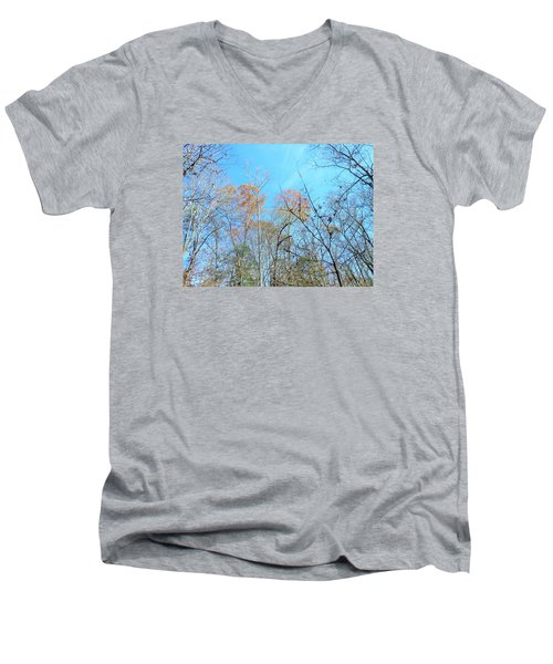Men's V-Neck T-Shirt featuring the photograph Fall Trees by Kay Gilley