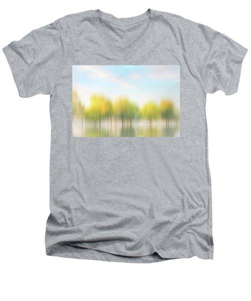 Fall Trees On Flooded Lake Men's V-Neck T-Shirt by Robert FERD Frank