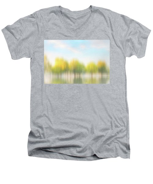 Fall Trees On Flooded Lake Men's V-Neck T-Shirt