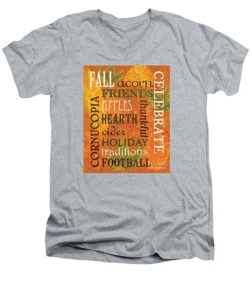 Fall Typography 2 Men's V-Neck T-Shirt