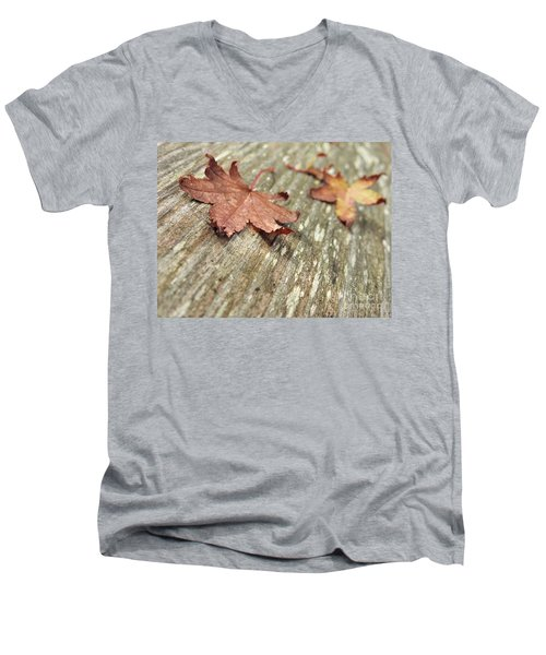 Men's V-Neck T-Shirt featuring the photograph Fallen Leaves by Peggy Hughes