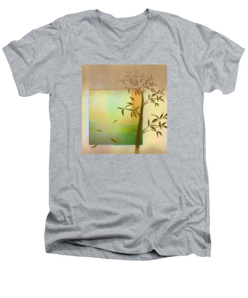 Falling Leaves Men's V-Neck T-Shirt by Nina Bradica