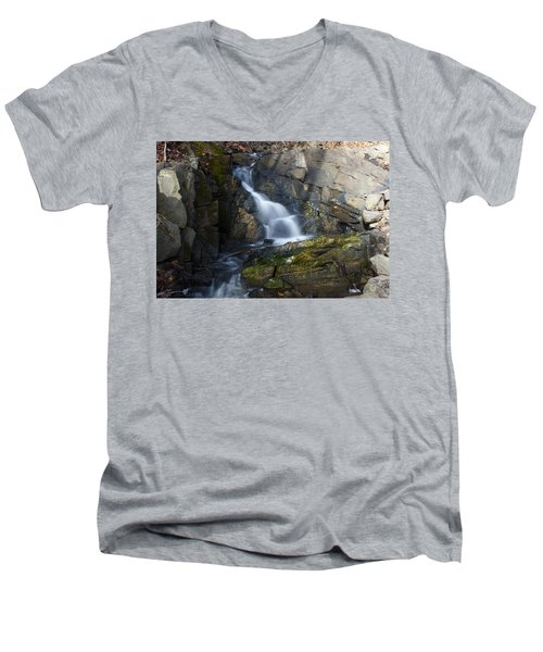 Falling Waters In February #2 Men's V-Neck T-Shirt by Jeff Severson