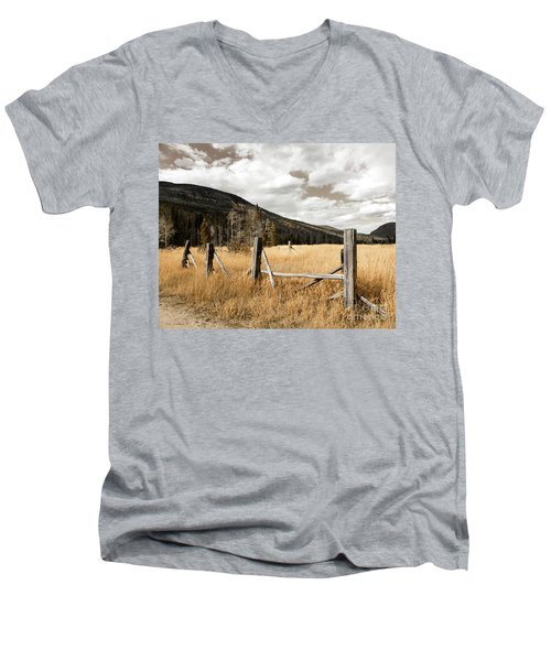 Fallowfield Weathered Fence Rocky Mountain National Park Dramatic Sky Men's V-Neck T-Shirt by John Stephens