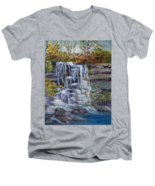 Falls At Rock Glen Men's V-Neck T-Shirt