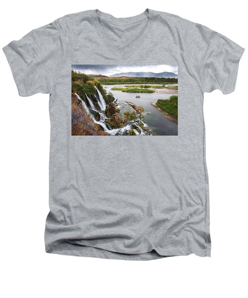 Falls Creak Falls And Snake River Men's V-Neck T-Shirt