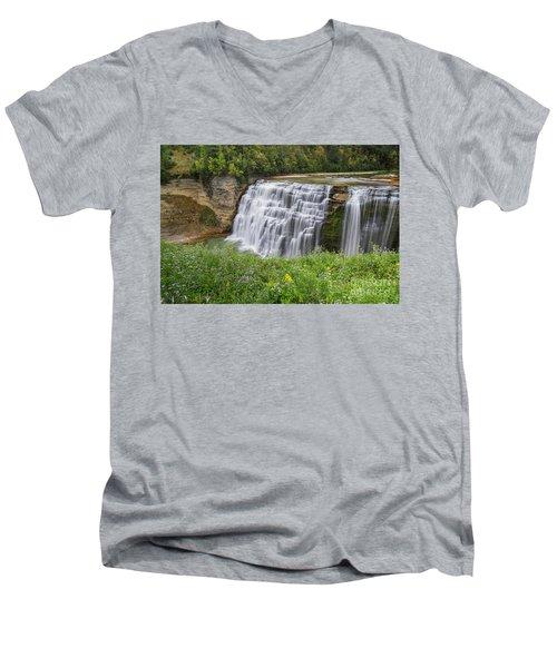 Autumn Flower Of Letchworth Middle Falls Men's V-Neck T-Shirt