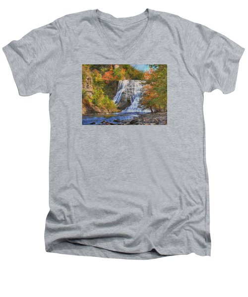 Falls In New York Men's V-Neck T-Shirt by Sharon Batdorf