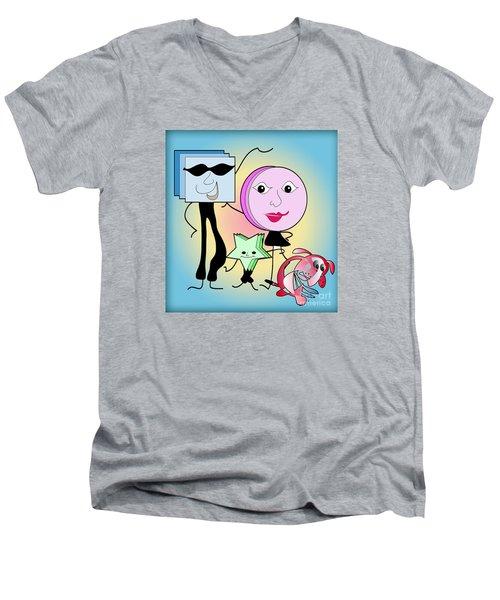 Families Men's V-Neck T-Shirt by Iris Gelbart