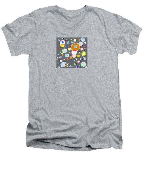 Men's V-Neck T-Shirt featuring the painting Family by Beth Saffer