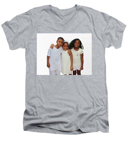 Family Love Men's V-Neck T-Shirt by Audrey Robillard