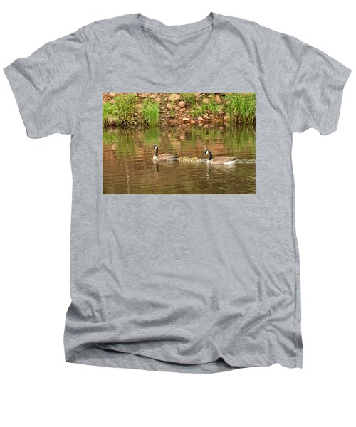 Family Of Geese Men's V-Neck T-Shirt