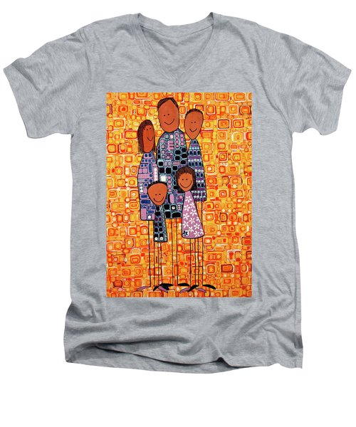 Men's V-Neck T-Shirt featuring the painting Family Portrait by Donna Howard