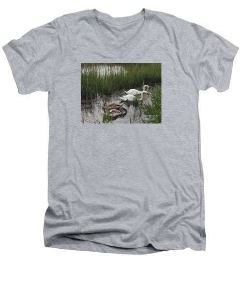 Family Time Men's V-Neck T-Shirt by Beth Saffer