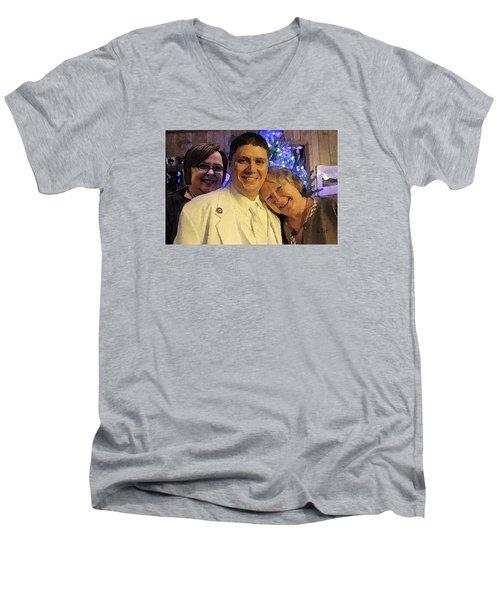 Family Men's V-Neck T-Shirt by Walter Chamberlain