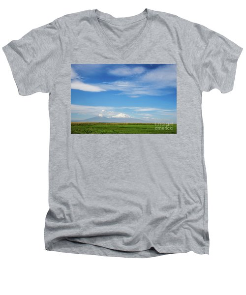 Famous Ararat Mountain Under Beautiful Clouds As Seen From Armenia Men's V-Neck T-Shirt by Gurgen Bakhshetsyan