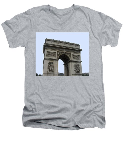 Famous Gate Of Paris - Arc De France Men's V-Neck T-Shirt by Suhas Tavkar