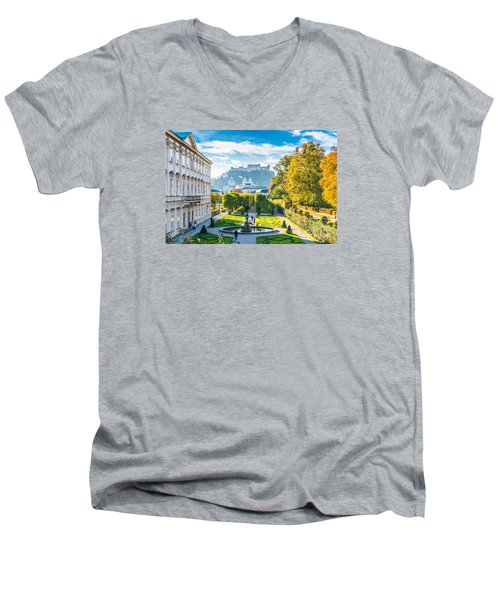 Famous Mirabell Gardens With Historic Fortress In Salzburg, Aust Men's V-Neck T-Shirt
