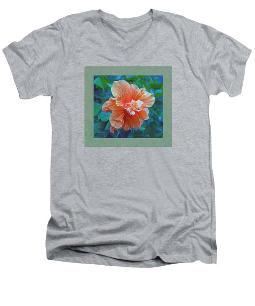 Fancy Peach Hibiscus Men's V-Neck T-Shirt by Sandi OReilly