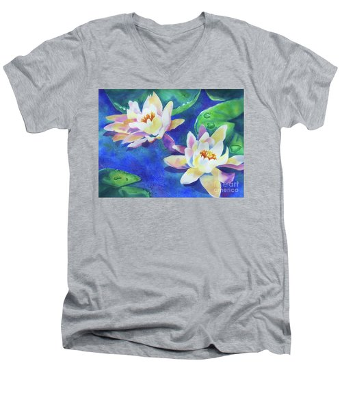 Fancy Waterlilies Men's V-Neck T-Shirt by Kathy Braud