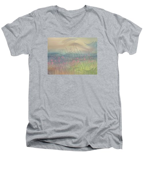 Fantasy Fields Men's V-Neck T-Shirt by Nina Bradica