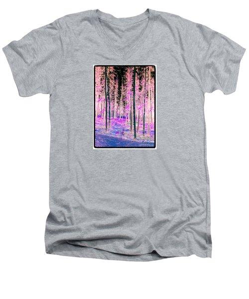Fantasy Forest Men's V-Neck T-Shirt by Linda Bianic