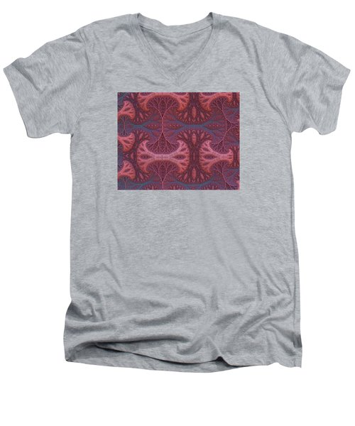 Men's V-Neck T-Shirt featuring the digital art Fantasy Forest by Lyle Hatch