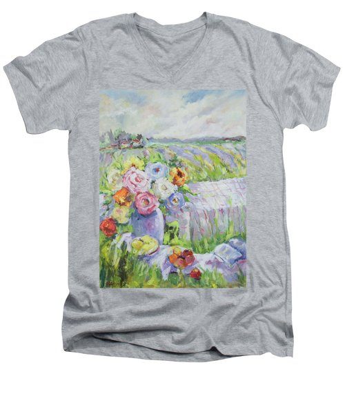 Far Away Men's V-Neck T-Shirt by Sharon Furner