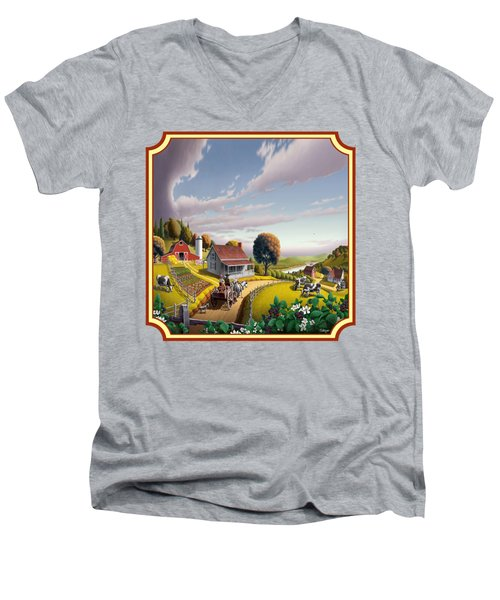 Farm Americana - Farm Decor - Appalachian Blackberry Patch - Square Format - Folk Art Men's V-Neck T-Shirt by Walt Curlee