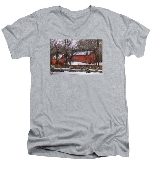 Farm - Barn - Winter In The Country  Men's V-Neck T-Shirt by Mike Savad