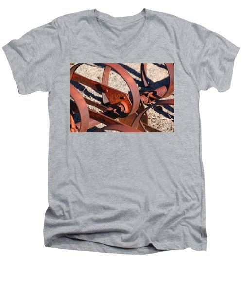 Men's V-Neck T-Shirt featuring the photograph Farm Equipment 4 by Ely Arsha