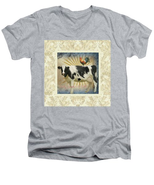 Men's V-Neck T-Shirt featuring the painting Farm Fresh Damask Milk Cow Red Rooster Sunburst Family N Friends by Audrey Jeanne Roberts