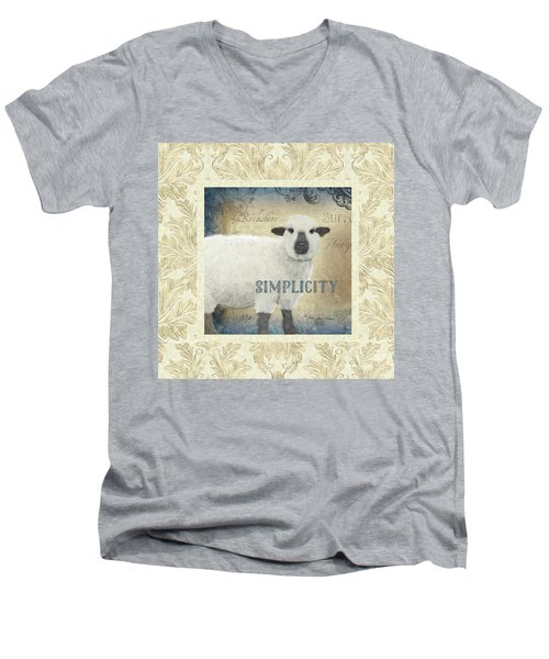 Men's V-Neck T-Shirt featuring the painting Farm Fresh Damask Sheep Lamb Simplicity Square by Audrey Jeanne Roberts