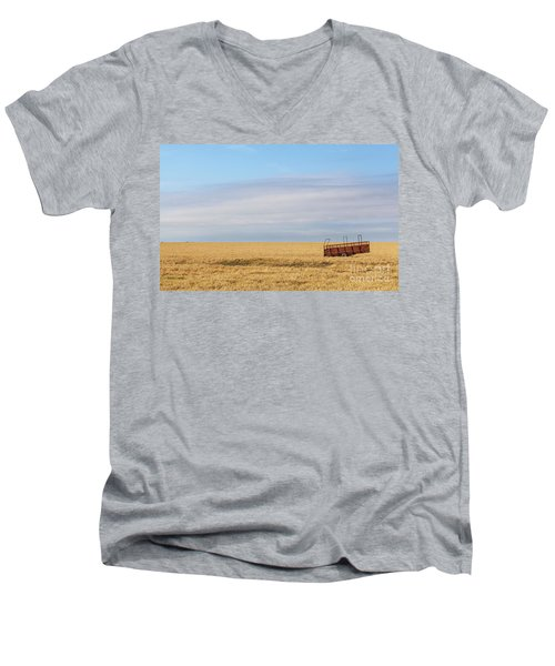 Farm Trailer In The Middle Of Field Men's V-Neck T-Shirt