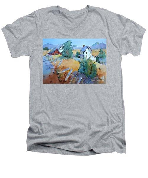 Farm With Blue Roof Tops Men's V-Neck T-Shirt